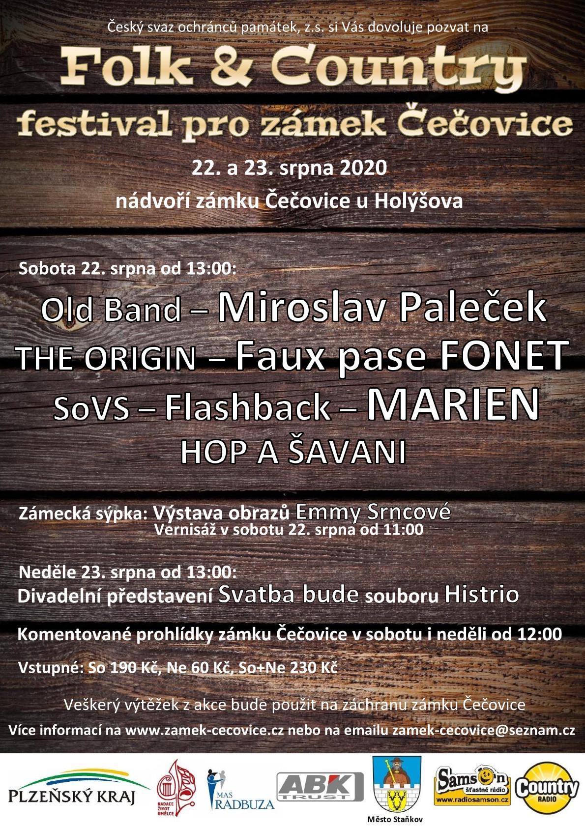 Folk-country festival pro zámek Čečovice 2020, folk festival, country festival, zámek, festival na zámku